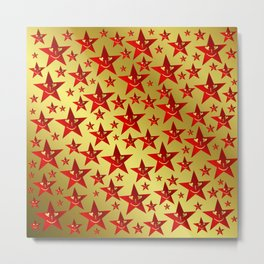 red, stars, face, laugh, smile, gold, pattern, colorful, christmas, motive, Metal Print