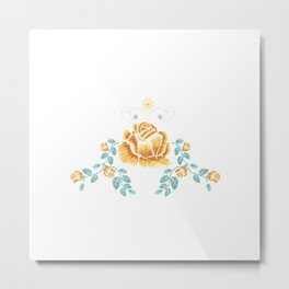 Yellow Embroidery Rose Metal Print