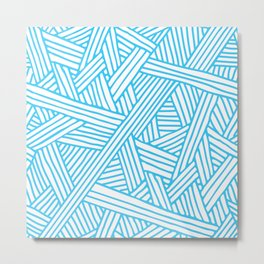 Abstract Teal & white Lines and Triangles Pattern-Mix and Match with Simplicity of Life Metal Print