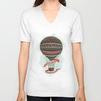 baloon V-neck T-shirts featuring have love, will travel by Laura Graves