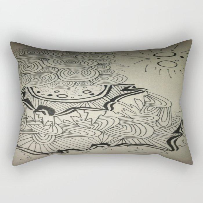 Ink Doodle Sprial Design Rectangular Pillow