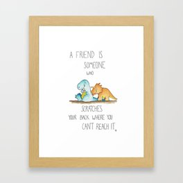 Friendship Dinosaurs greeting card by Nicole Janes Framed Art Print