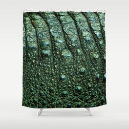Green Alligator Leather Print Shower Curtain