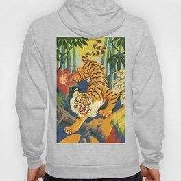 Tiger Slinking Through Jungle illustration - retro style Hoody