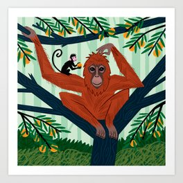 The Orangutan in The Orange Trees. Art Print