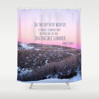 camus Shower Curtains featuring Winter by Michelle McConnell