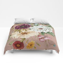 Colorful Wildflower Bouquet on Pink Comforters