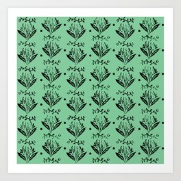 Cala Lily stamp pattern - in green Art Print