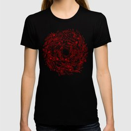 Loose Watercolor Floral Swirl - Red T-shirt