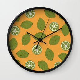 Lime Design - Fruit, Yellow and Green, Lime Pattern Wall Clock
