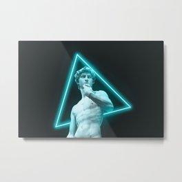 David Minimalist Cyber Neon Metal Print