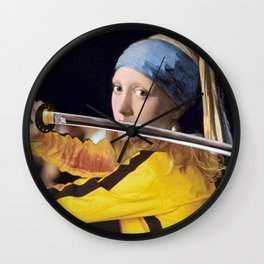 Beatrix Kiddo and Vermeer's Girl with a Pearl Earring Wall Clock