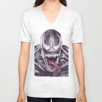 venom V-neck T-shirts featuring Venom by DeMoose_Art