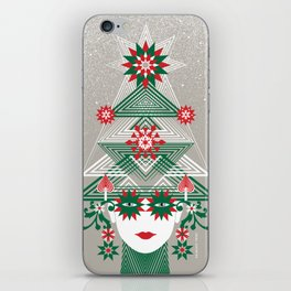 Christmas woman tree iPhone Skin