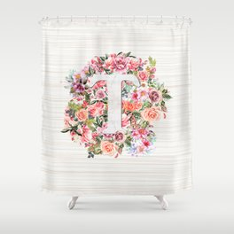 Initial Letter T Watercolor Flower Shower Curtain