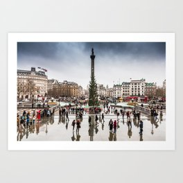 Trafalgar Square, London, at Christmas Art Print