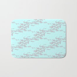 Cedar Waxwings in a Pear Tree with Nest - Mint and Silver Bath Mat