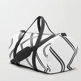 Modern Boho Ogee in Black and White Duffle Bag