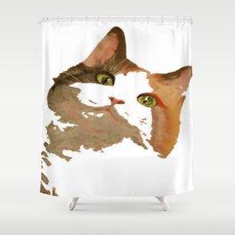 I'm All Ears - Cute Calico Cat Portrait Shower Curtain