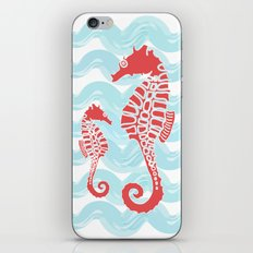 Beachy Seahorses Dancing in the Waves iPhone & iPod Skin