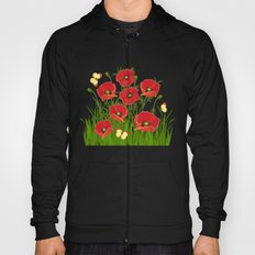 Poppies and butterflies Hoody
