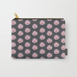 Modern gray blush pink girly daisies floral pattern Carry-All Pouch