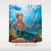 aquaman Shower Curtains featuring Aquaman Black Lagoon (Sun Kissed Water Version) by Brian Hollins art