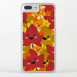 Happy leafy Autumn mess Clear iPhone Case