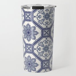 White & Blue Contemporary Floral Pattern Travel Mug