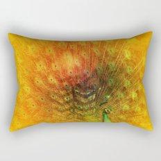 Peacock in Gold Rectangular Pillow