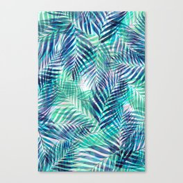 Palm Leaves - Indigo Green Canvas Print
