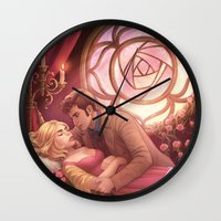 sleeping beauty Wall Clocks featuring Sleeping Beauty by the-untempered-prism