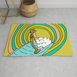 the path to groovy // lady slide by surfy birdy Rug