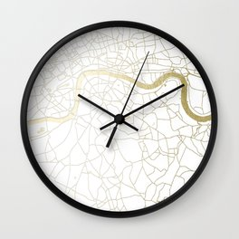 London White on Gold Street Map Wall Clock