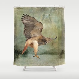 Feathered Fury Above Shower Curtain
