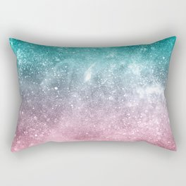 Sea pink viridian green ombre abstract galaxy Rectangular Pillow