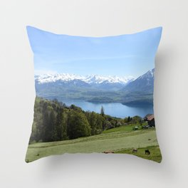 Lake Thun Bernese Oberland Switzerland Throw Pillow