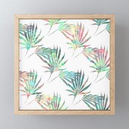 Palmetto Fronds Tropical Multicolor Pattern Framed Mini Art Print