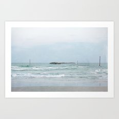 Wrightsville Beach, NC -- Jetty with Boats Art Print
