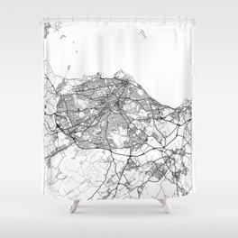 Edinburgh Map White Shower Curtain