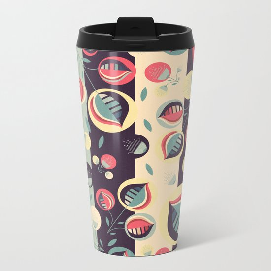 50's floral pattern II Metal Travel Mug