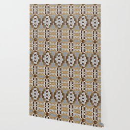 Brown Taupe Tan Gray Native American Indian Mosaic Pattern Wallpaper