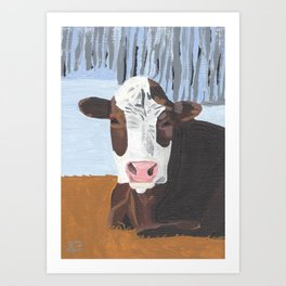 Cow In The Winter Art Print