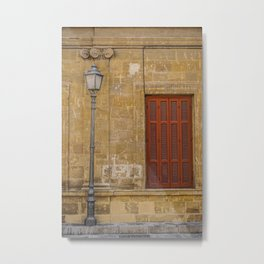 Shuttered Windows and a Light Pole  Metal Print