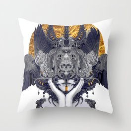 Black Feathers Throw Pillow