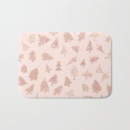 Modern rose gold glitter Christmas trees pattern on blush pink Bath Mat