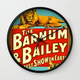 Barnum and Bailey Great Show on Earth - Lion and Tiger Vintage Circus Poster Wall Clock