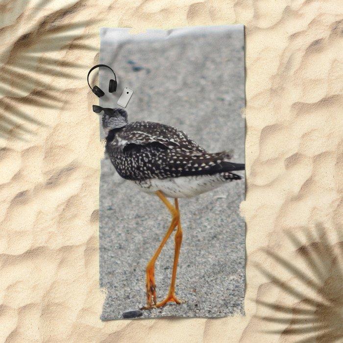 Greater Yellowlegs  Walks Away Beach Towel