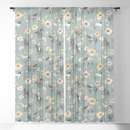 Horses and Sunrise Blue Floral, Horse Love, Wild Horses, Yellow and Pink Flowers Sheer Curtain