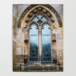 Stained glass window of Rosslyn Chapel outside Edinburgh, Scotland Poster